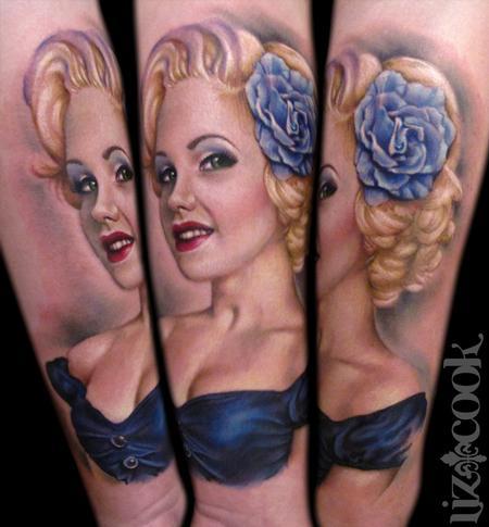 Tattoos - Tim's Blue Rose Pin Up - 60236