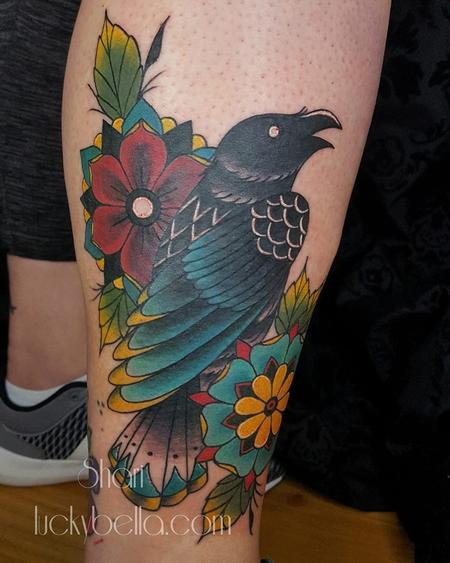 Traditional Raven and Flowers  Design Thumbnail