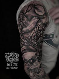Tattoos - Black and Gray Nature Sleeve with Skulls - 137391