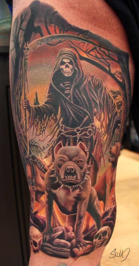 Tattoos - Pitbulls and Grim Reaper Tattoo - 115318
