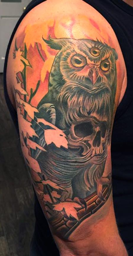 Tattoos - Owl Skull Tattoo - 134278