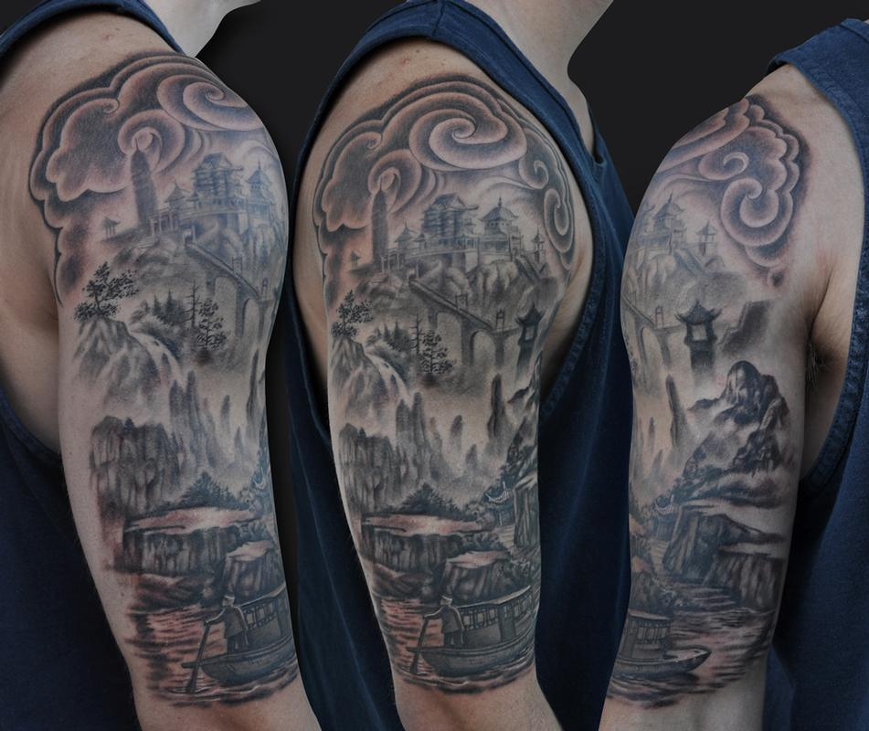 asian landscape tattoo by jamie lee parker tattoonow. Black Bedroom Furniture Sets. Home Design Ideas