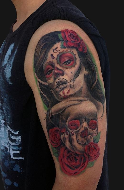 day of the dead girl and skull tattoo by jamie lee parker tattoonow. Black Bedroom Furniture Sets. Home Design Ideas