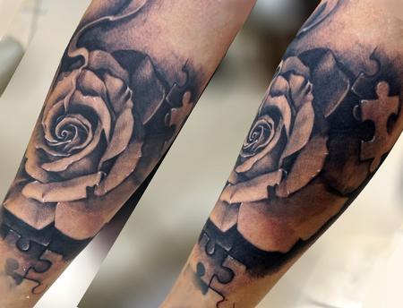 Tattoos - rose puzzle piece tattoo girl tatts - 128167