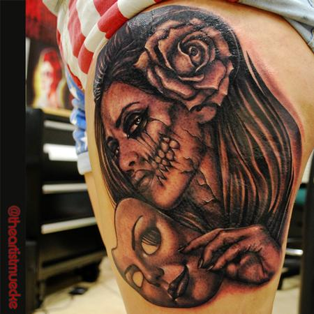 Tattoos - custom leg piece black and grey muecke tattoo  - 93783