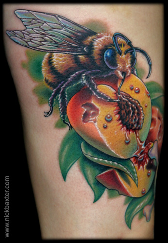 Tattoos - Bumble Bee and Peaches - 15175