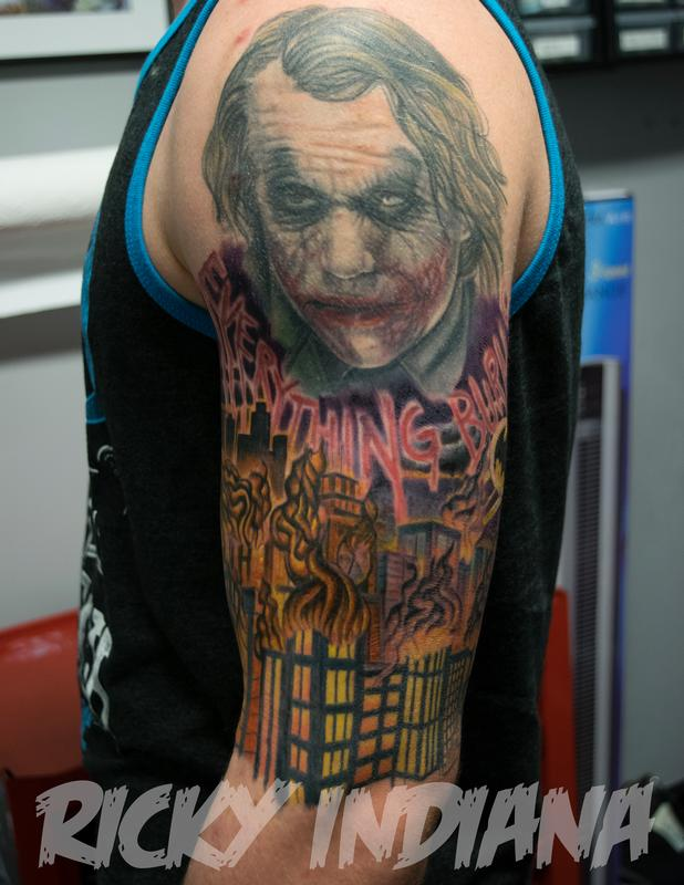 dark knight scene work in progress by ricky indiana tattoonow