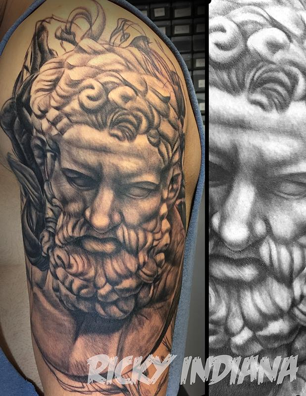portrait of heracles by ricky indiana tattoonow