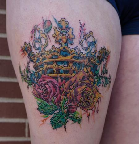 watercolor crown and roses by matt stines tattoonow