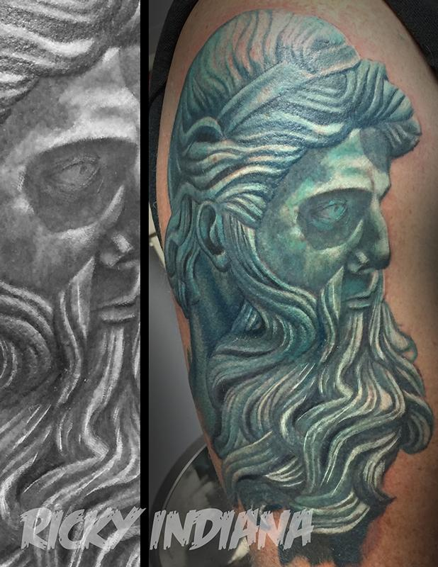 start of a poseidon half sleeve work in progress by ricky indiana