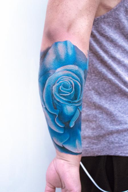 Mark Tousignant - Blue Rose Half Sleeve