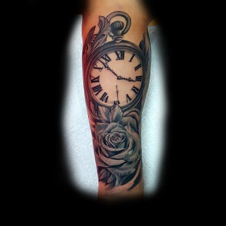 Tattoos - Grey Rose with clock - 133423