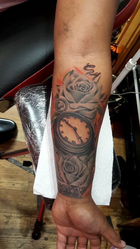 Tattoos - roses with clock - 132698