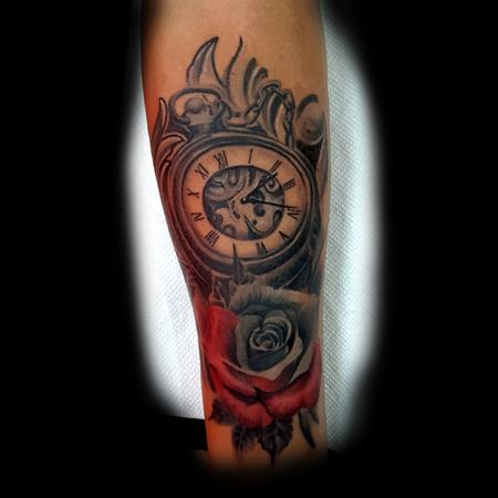 Tattoos - Clock with Red and grey Rose - 133428