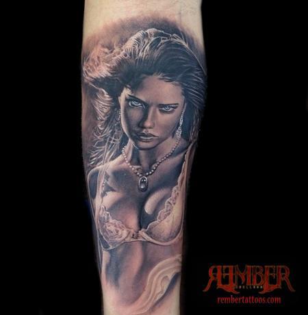 Tattoos - Black and grey Realism Portrait - 109319
