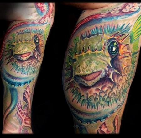 Sorin Gabor - realistic color puffer fish and octopus tattoo