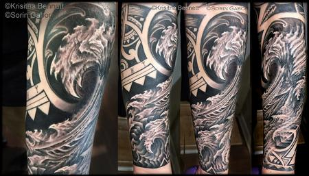 Sorin Gabor - realistic black and gray bio wave and polynesian tribal collab