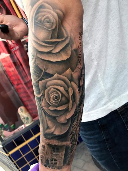 Tattoos - realistic black and gray girl face w/bandana, roses, and Sonoma City Hall building tatoo sleeve - 131424