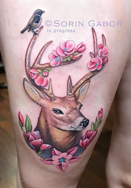 Tattoos - whimsical realistic color deer tattoo with flower accents - 131432