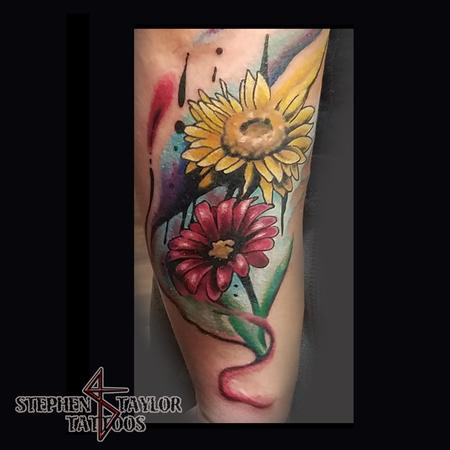 Tattoos - creative colorful watercoloresque flowers - 134721