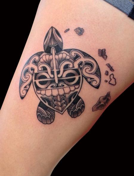 Tattoos - Tiki Turtle with Islands - 100241