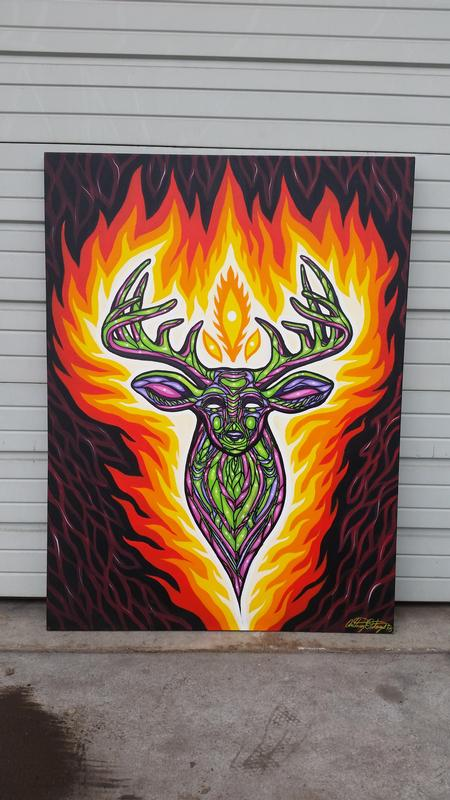 Anthony Ortega - psychedelic deer acrylic painting on canvas
