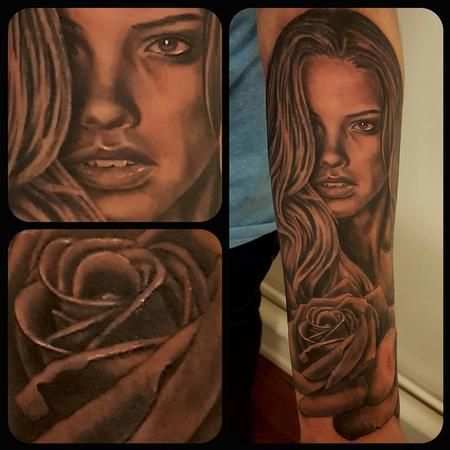 Tattoos - Woman and rose - 131694