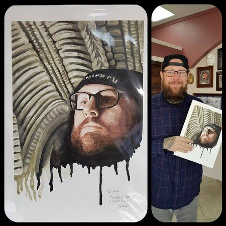 George Scharfenberg  - Painting of owner at Studio 13 Tattoo