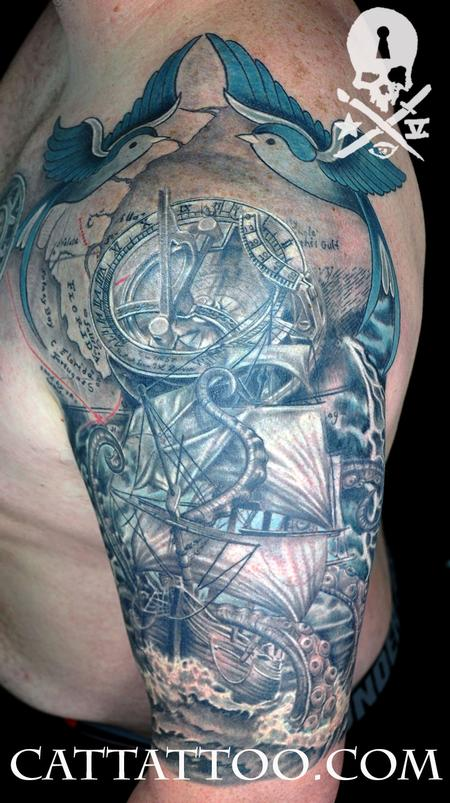 Terry Mayo - Ship Kraken Sundial Compass Sleeve