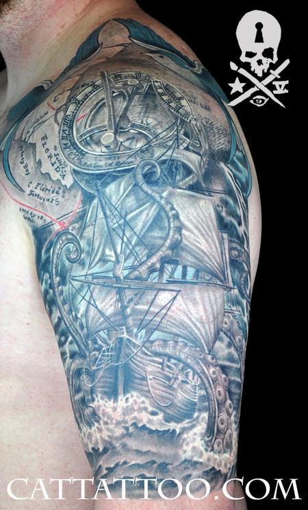 Terry Mayo - Ship Kraken Sundial Compass Sleeve