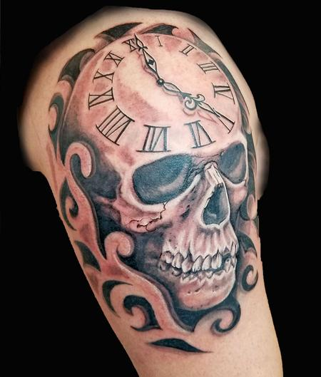 Tattoos - Black and Grey Skull with Clock - 130786