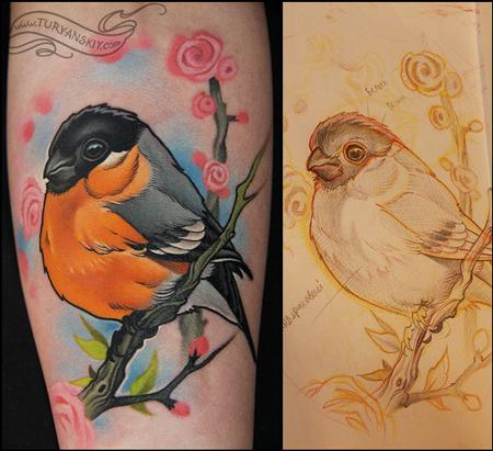 Oleg Turyanskiy - Bullfinch Bird Tattoo