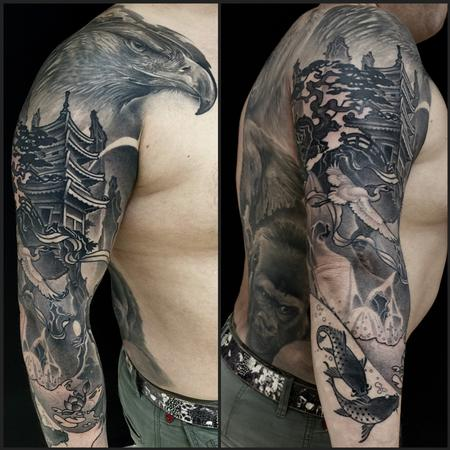 Tattoos - Eagle and pagoda  - 112078