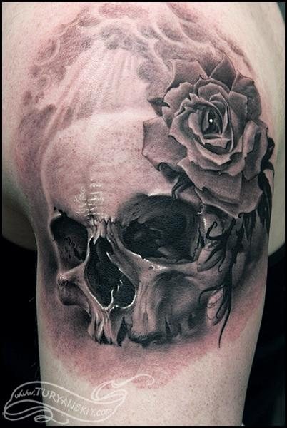 Tattoos - Skull and rose - 59865