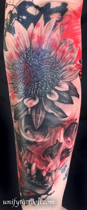 Tattoos - Trash Polka Skull & Sunflower - 119269