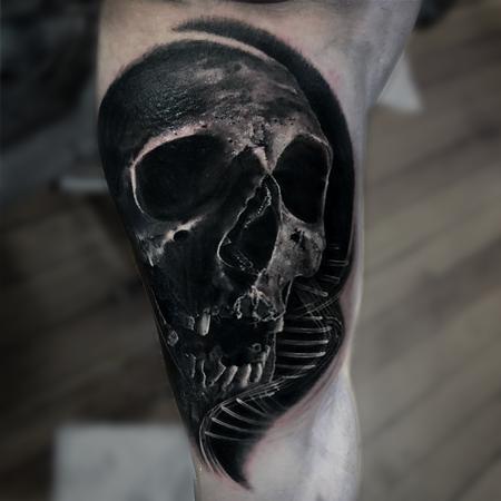 Tattoos - Skull and DNA Tattoo - 133808