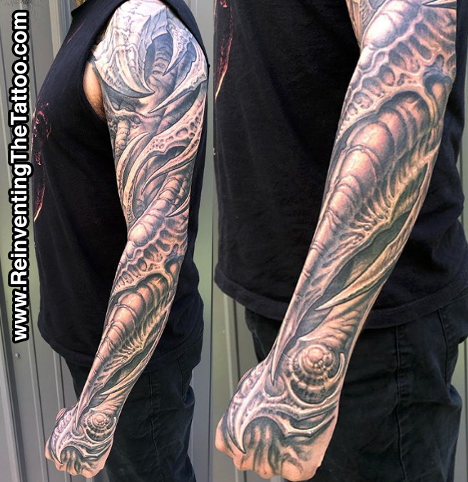 Black and Grey S Curve Sleeve Tattoo