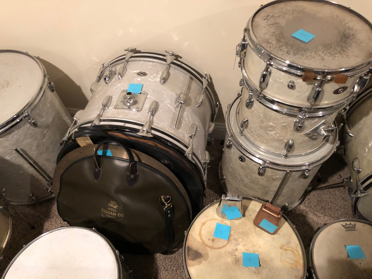 Gene Krupa's drums, Gene Krupa's cymbals, Famous jazz drummers drums, collectable vintage drums, collectible musical instruments, Benny Goodman