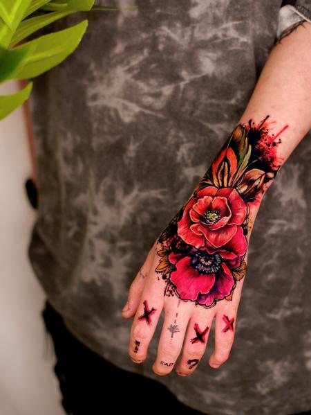 Tattoos - Watercolor Rose Hand Tattoo - 143091