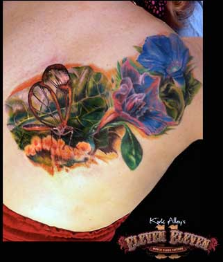 Tattoos - Realistic Bug and Flower Tattoo - 66115