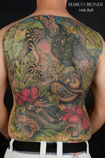 Tattoos - back tattoo of a snake - 99782
