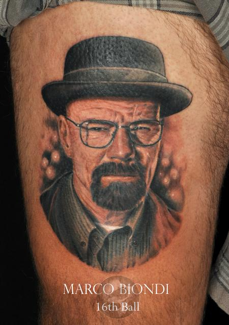Tattoos - Breaking Bad Heinberg Walter white color portrait tattoo  - 99274
