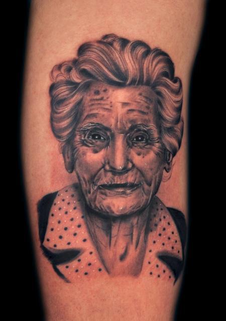 Tattoos - grandmother black n gray tattoo  - 99453