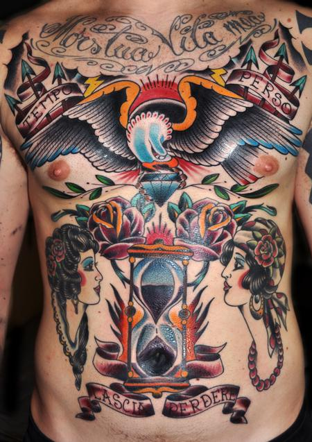 Tattoos - hourglass and eagle traditional color tattoo - 99492