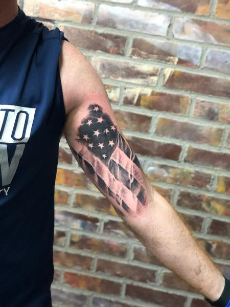 Black and Grey American Flag Tattoo Design Thumbnail