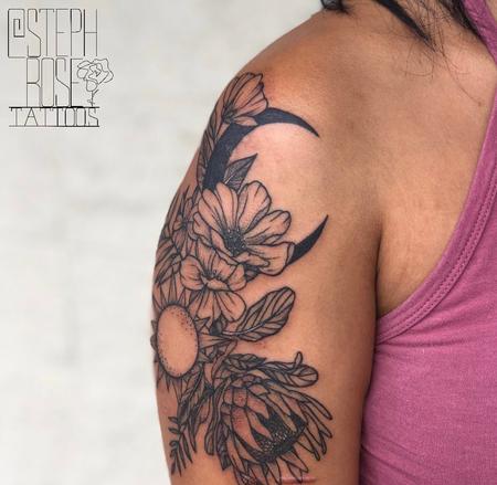 Tattoos - Sun, Moon, & Flowers - 139711
