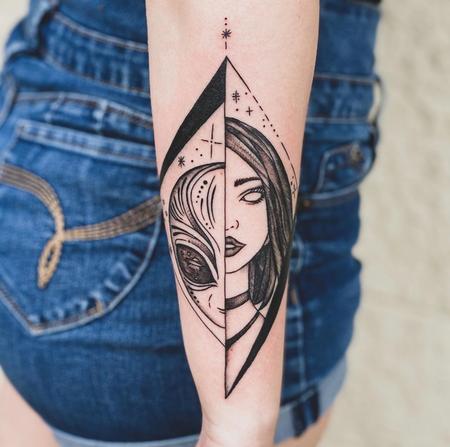 Tattoos - Fine Line Alien Morph Tattoo - 141249