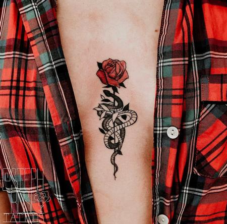 Tattoos - Sternum Snake and Rose Tattoo - 141257