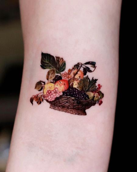 Tattoos - Realistic Fruit Bowl Tattoo - 143374