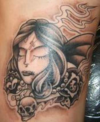 Tattoos - Custom girl face tattoo - 49314
